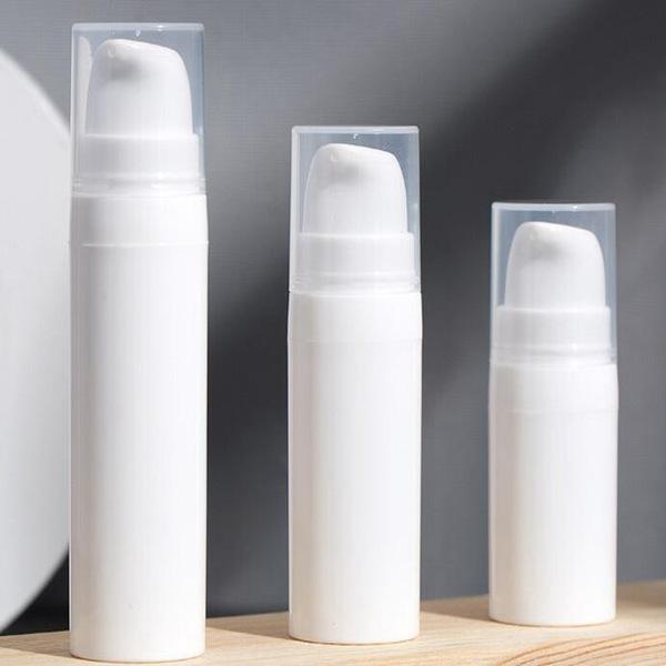 300pcs 5ml 10ml Pompe blanc Airless Lotion Bouteille Mini échantillon et bouteille d'essai Airless Container Emballages cosmétiques