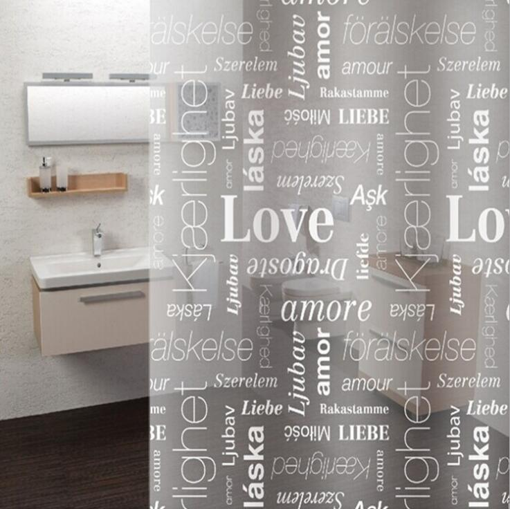 PEVA Bath Shower Curtain with 12 Hooks Cartoon Letters Leaves Bathroom Curtain Waterproof Shower Curtains Washable 72X72 Inch