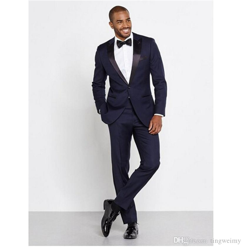 Navy Blue Men Hochzeitsanzüge nach Maß nehmen passende Hochzeit Bräutigam Smoking für Männer Groomsman Bester Mann Anzug Jacke + Pants