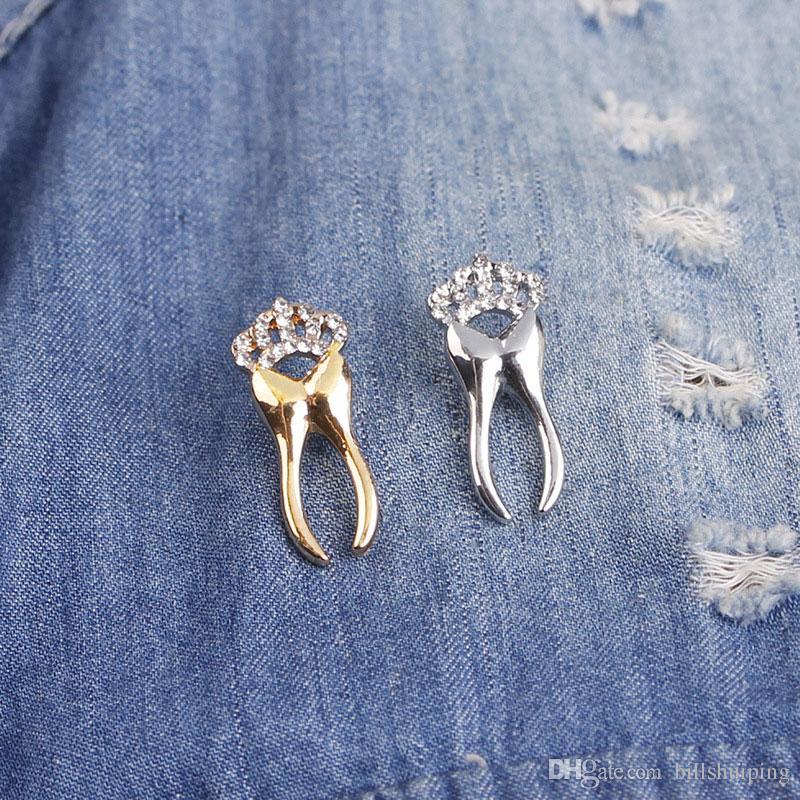 Neue Kristallkrone Zahnform Broschen Für Frauen Männer Geschenke Pins Hochzeit Kleid Dekoration Schmuck Kostenloser Versand