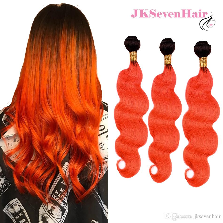 Dark Root Orange Brazilian Virgin Human Hair 3 Bundles Body Wave 1B Orange Ombre Malaysian Peruvian Indian Remy Hair Wefts With Thick Bottom