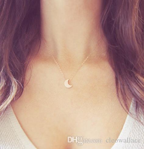 1 pc moon Woman joyas de lujo 45.5cm acero titanio 18 k collar de oro rosa
