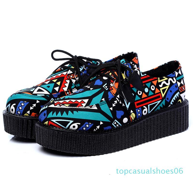 Лето Женской обуви Creepers Женщина Квартира платформа Повседневная обувь Квартира Creepers Новых мокасины женских t06 t06
