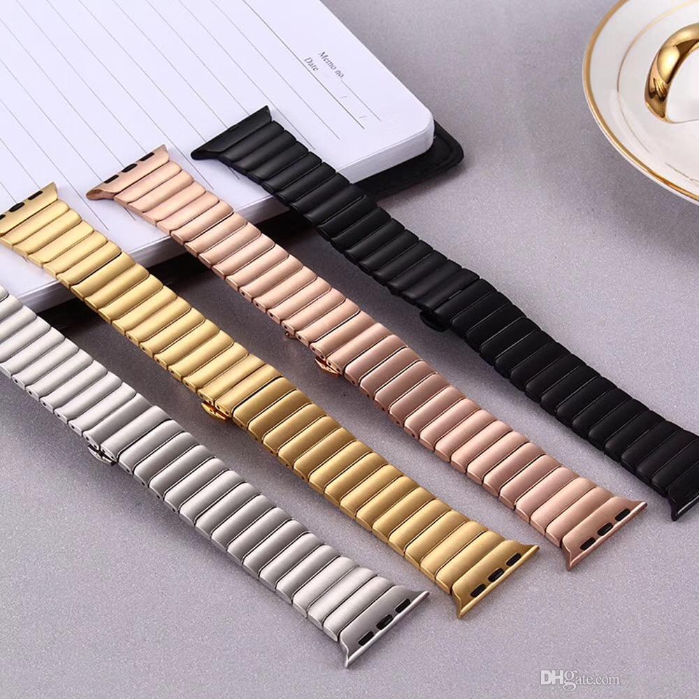 faixa de relógio de metal para Apple Watch 5 de geração de tiras 38 milímetros 40 milímetros 42 milímetros 44 milímetros Bandas iwach 4 3 2 fivela curva cadeia de borboleta pulseira Pulseira