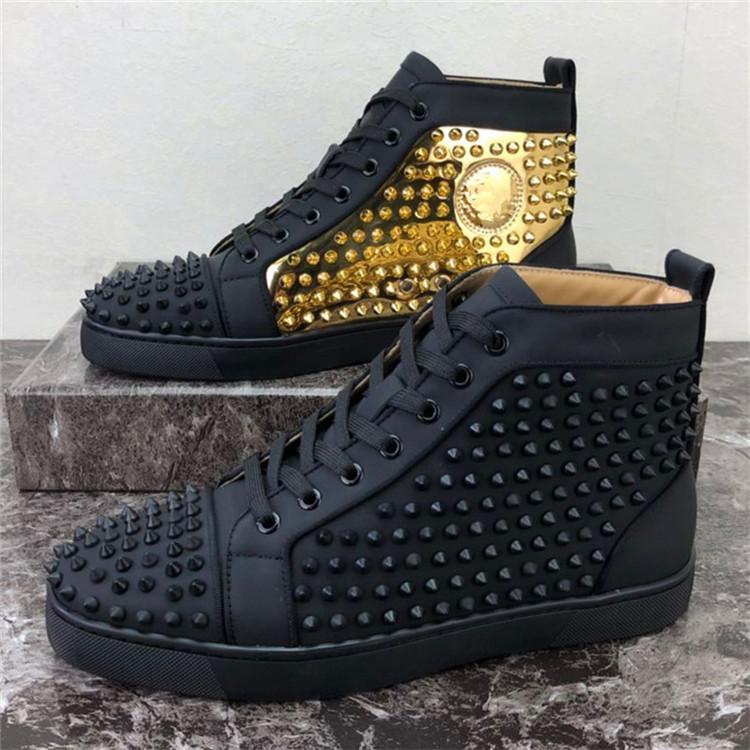 2019 Erkekler Kadınlar Günlük Ayakkabılar Tasarımcı Kırmızı Alt Çivili Dikenler Moda Insider Sneakers Siyah Kırmızı Beyaz Deri Yüksek Boot'un size34-48 D07