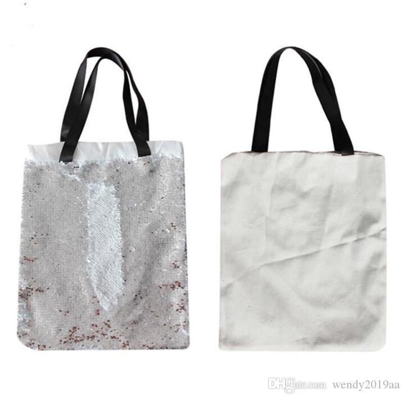 5 قطع 40x34 سنتيمتر التسامي فارغة حمل الحقائب الترتر تخزين حمل حقيبة الساخن نقل الطباعة diy المواد الاستهلاكية