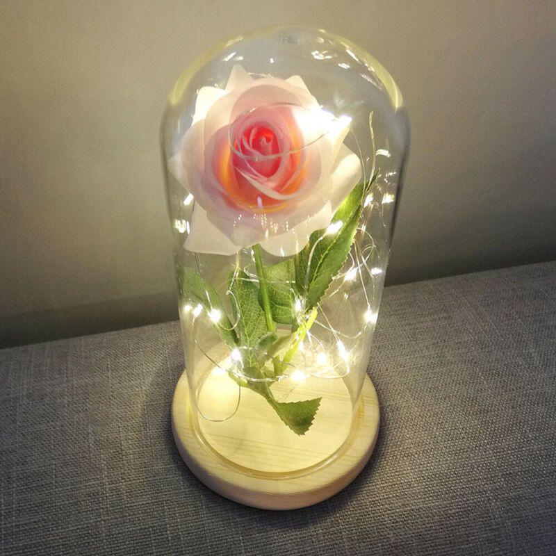 Lemonbest preservada amantes dia presente para a festa de casamento Início de vidro dos Namorados Rose Lâmpada Simulação Decor Flor Em