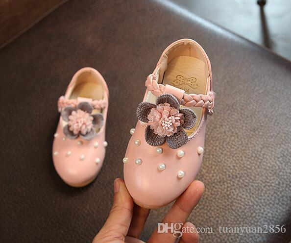ربيع الخريف الفتيات الأحذية بو الجلود أميرة حزب أحذية واحدة طفل الانزلاق على الشقق عارضة الأزياء لؤلؤة زهرة الاطفال المتسكعون sapato