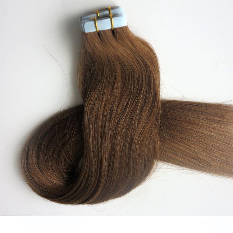 100г 40шт Клей Кожа Уток ленты в расширениях волос человека 18 20 22 24inch 8 #Light Коричневый Бразильский Индийский Наращивание волос