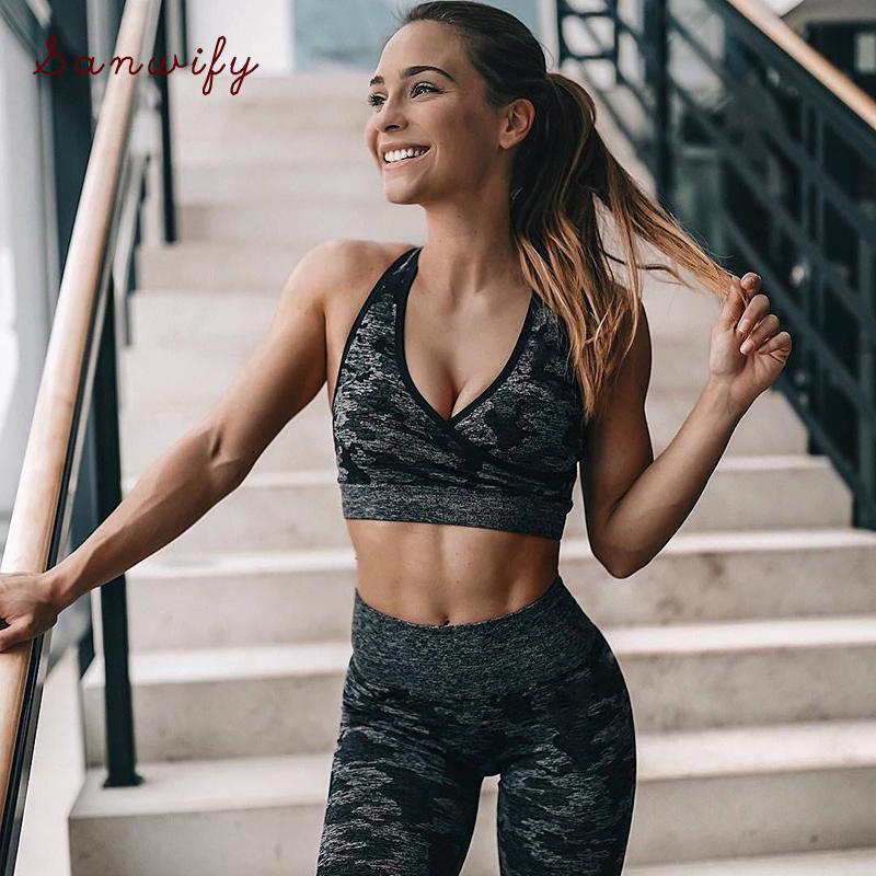 Yoga Set Seamless Frauen Fitness Bekleidung Sportbekleidung Gym Leggings Padded Push-Up-Sport-BH-Klagen