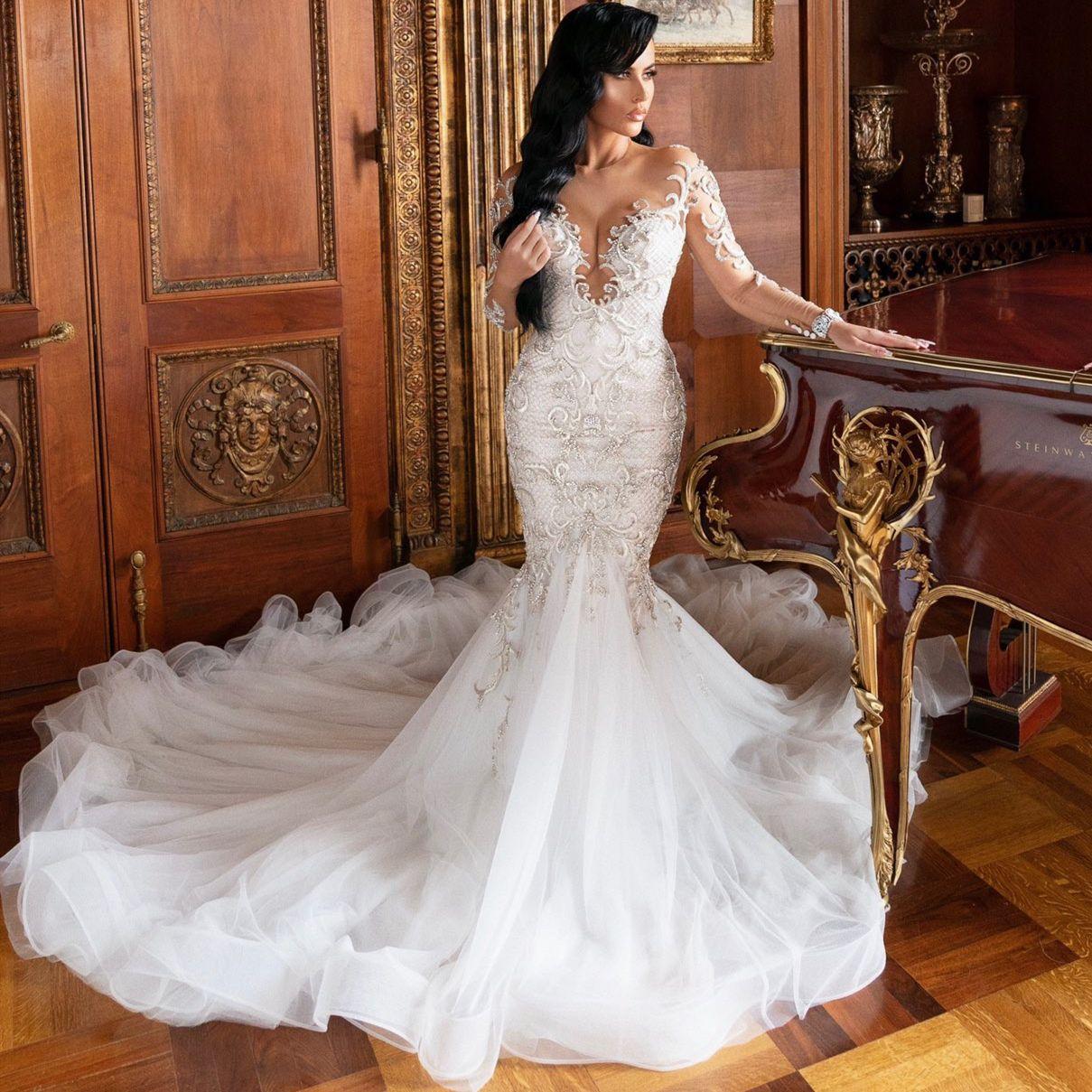 Abiti Da Sposa Sirena.Sheer Wedding Dresses Abiti Da Sposa Sirena Mermaid Jewel Neck