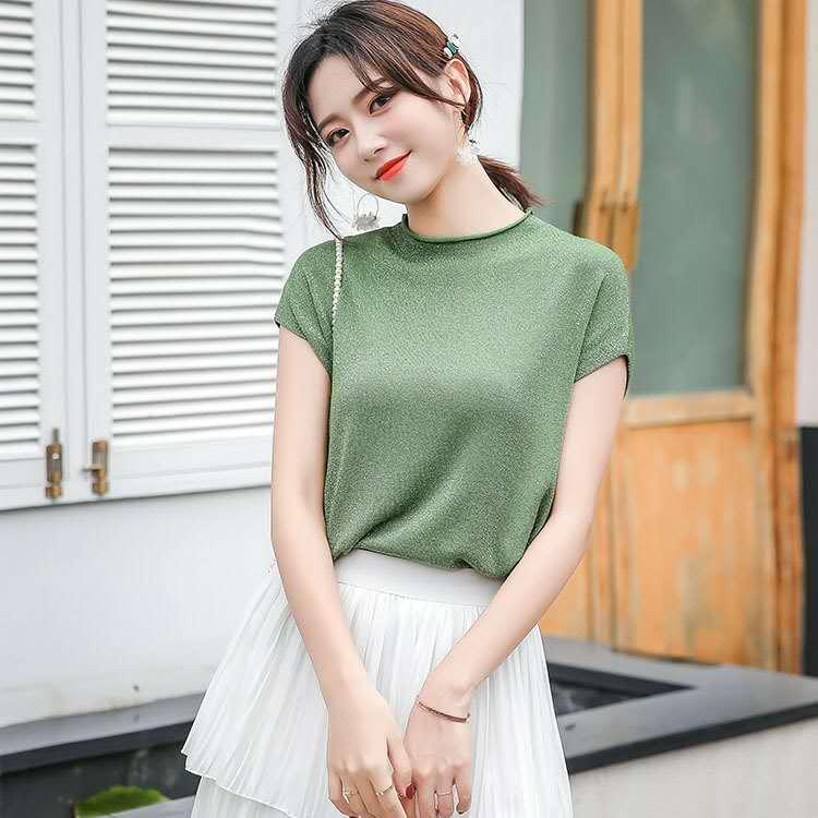Pure color split short Sleeve T-shirt for women 2020 Summer Korean version of the new loose large size blouse foreign trade women's fashion