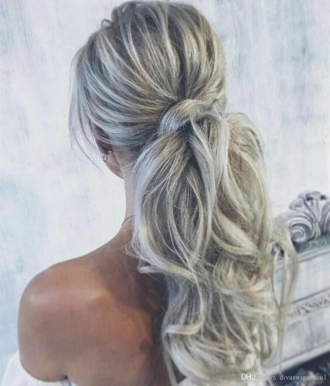 Fashion Silver Hair Ponytail Drawstring in HairPieces Remy brasileño remy de pelo 100 g por paquete Extensiones de cabello humano Estilo de cabello gris