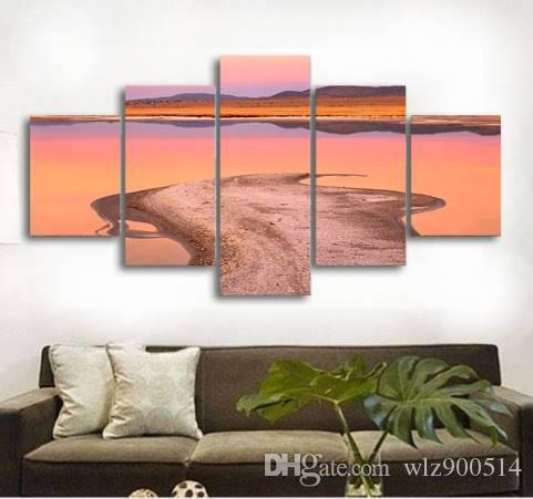 5pcs/set Unframed California Prairie Water Grass Animal Print On Canvas Wall Art Picture For Home and Living Room Decor