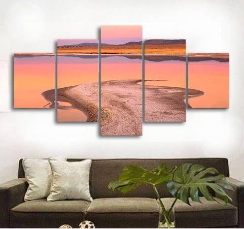 5 adet / takım Çerçevesiz California Prairie Su Çim Hayvan Baskı Tuval Duvar Sanatı Resim Için Ev ve Oturma Odası dekor