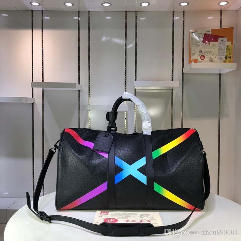 2020 nuovo progettista Luxury Travel Bag in pelle e tela di canapa del progettista di moda di lusso borsa da viaggio Moda Stampa M44645 A125