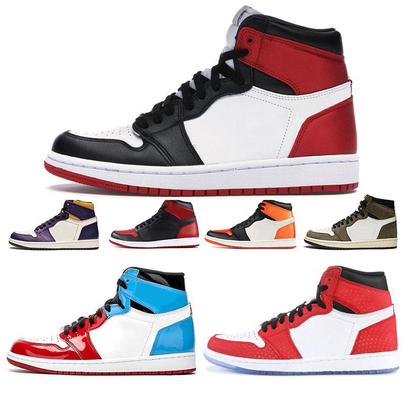 2020 Jumpman Travis Scott 1 1s erkekler kadınlar basketbol ayakkabıları Bloodline Korkusuz Spiderman Tubro Yeşil moda erkek eğitmenler spor ayakkabısı