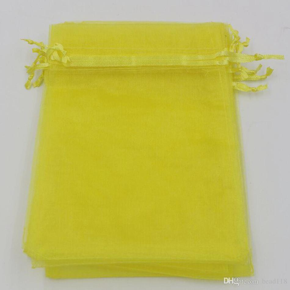 Горячей ! Лимон желтый 7x9cm 9x11cm 13x18cm ювелирные изделия в органзах сумки для ювелирных изделий для свадьбы.