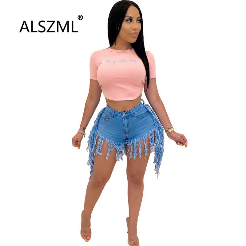 Yeni stil 2020 çok renkli moda püskül tasarımı bayan kot şort yüksek bel seksi sıkı şort kaliteli moda şort
