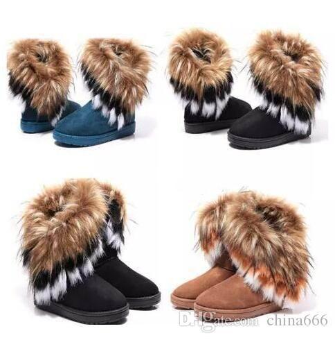 2020 caliente venta caliente y las botas de piel de invierno confortables imitación zorro botas de pelo de conejo de lana femeninas en el tubo de botas de algodón zapatos de algodón caliente