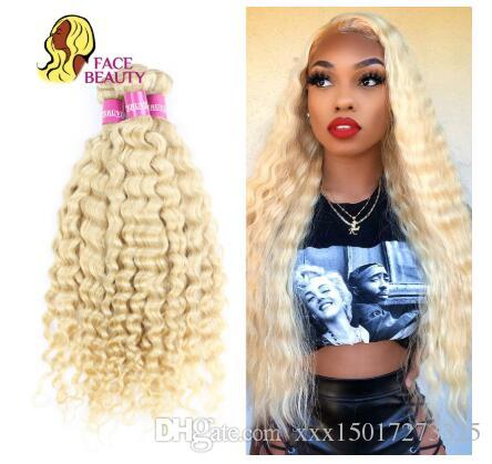 613 Color Hair Weft Blonde Brazilian Deep Wave Bundle 12 - 28 Inch Remy Human Hair Weave Platinum Blonde 1/3/4 Bundle