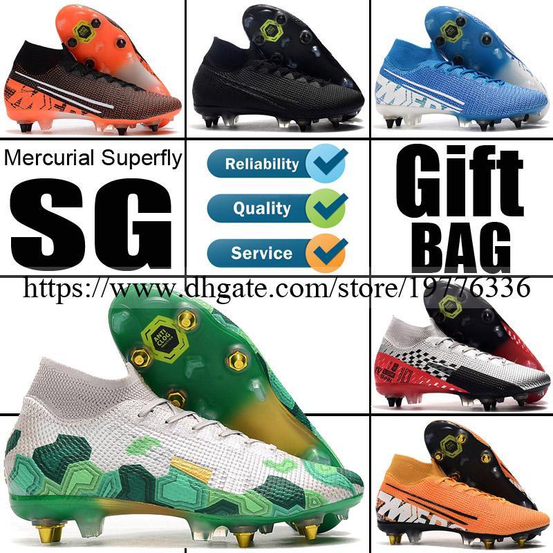 2020 أحذية عالية الأعلى زئبقي ال superfly السابع SG كرة القدم لكرة القدم أحذية المسامير CR7 رونالدو Mbappe MDS نيمار الجوارب لكرة القدم المرابط كرة القدم الجديدة