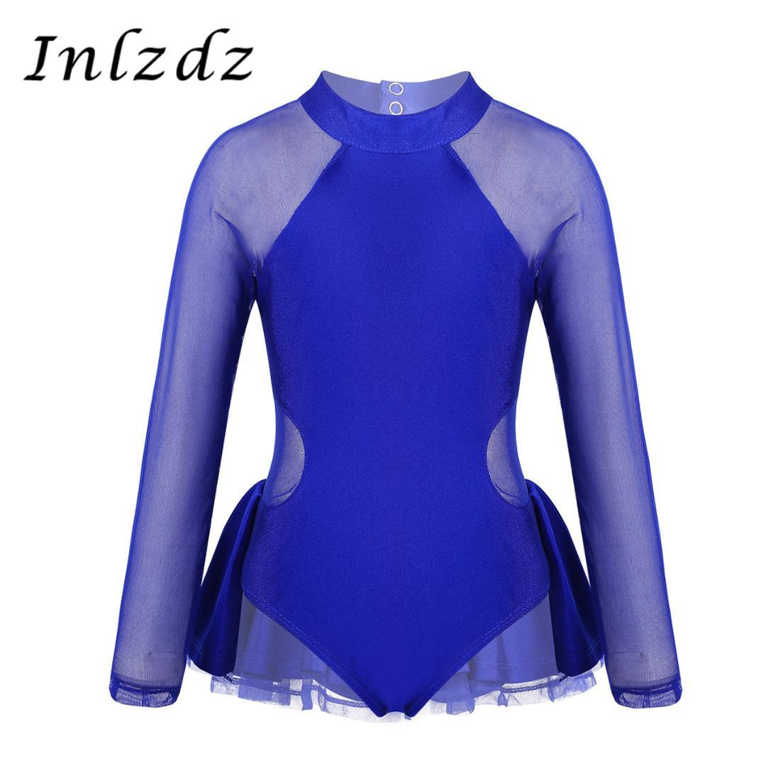 Kids Girls Ballet Gymnastics Long Sleeved Leotards Mesh//Tulle Splice Dance Wear