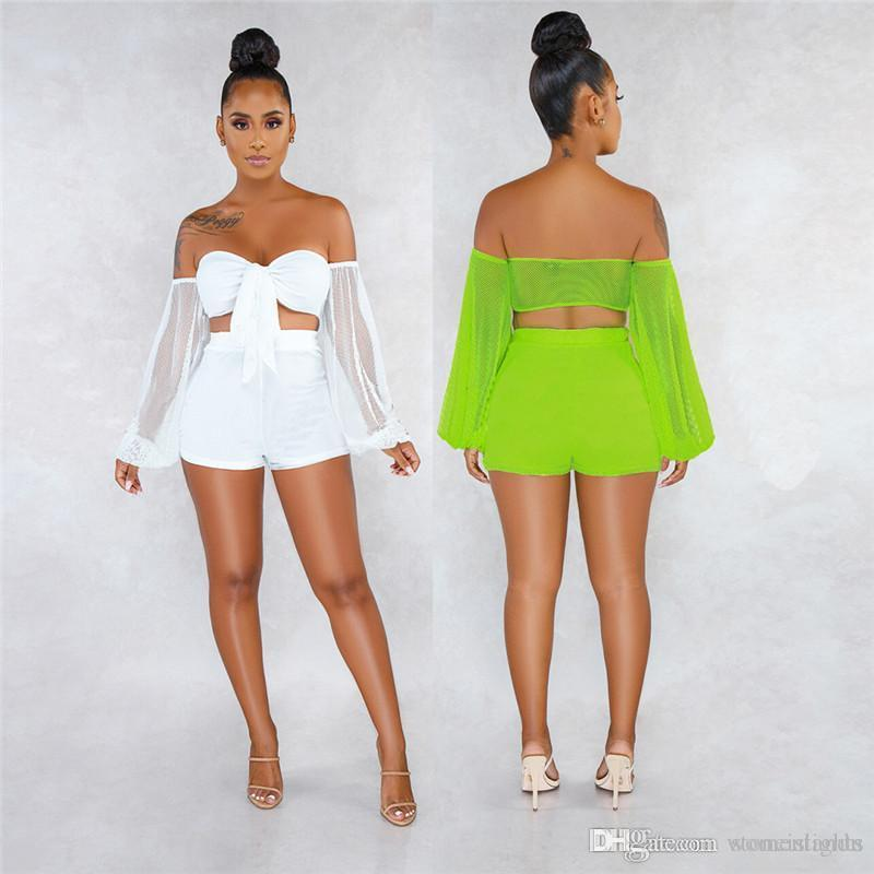 Sexy Perspective Two Piece Womens Shorts Sets Solid Color Long Sleeve Sheer High Waist Womens 2PCS Sets