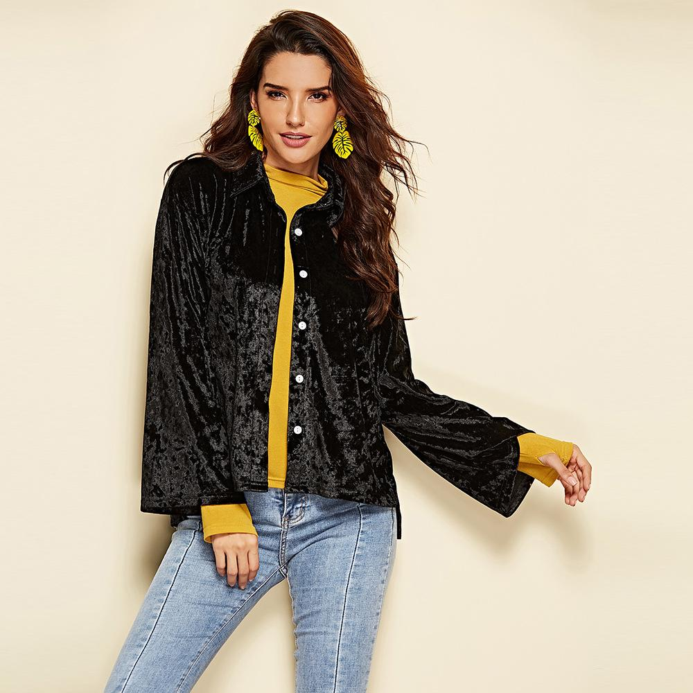 2018 hot selling women Black Velvet tops autumn and winter Korean style long-sleeved black Blouses European and American fashion coats women