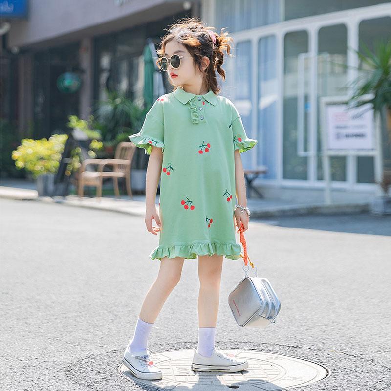 Yaz Kızlar A Hattı Elbise Çocuk Bebek Mini Elbise Düğme Toplama Yaka Ruffles Dantelli Kiraz Prenses vestidos 4-16 yıl