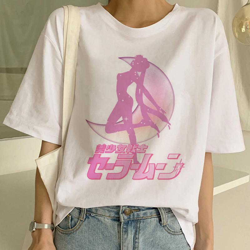 Sailor Moon Kawaii estetica maglietta delle donne Harajuku nuovi brevi anni '90 manica Ulzzang T-shirt gatto sveglio del fumetto Tshirt T superiori Femminile