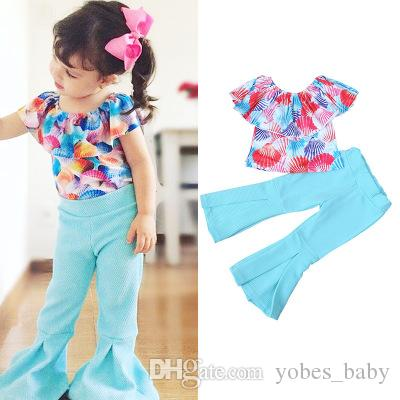girls set legging design casual clothes Kid shell print top blue flared pants boutique clothing sexy design infant clothing toddler garments