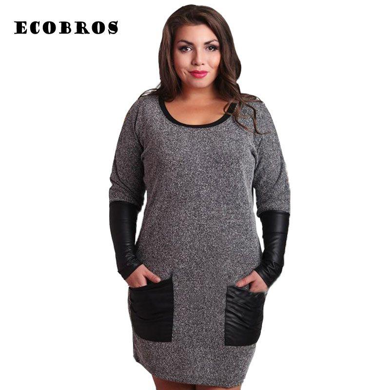 Große Größe 6XL 2020 Frühlings-Kleid-Frauen-beiläufige lange Hülsen-Patchwork Tasche feste Kleider plus Größe Frauen Kleidung 6xl Fett MM Kleid