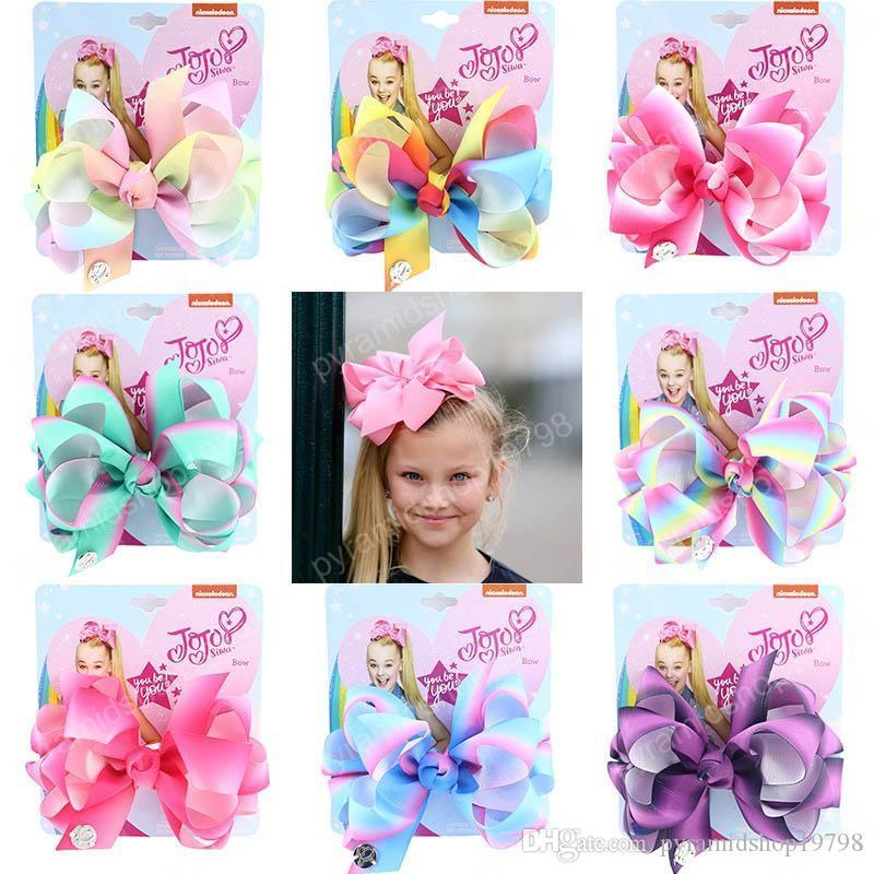 Новый стиль 2020 Jo Сива девушки зажимы волос радуга Jojo Сива луки дизайнер зажимы волосы детей заколки ребенок BB клип малыши аксессуары для волос