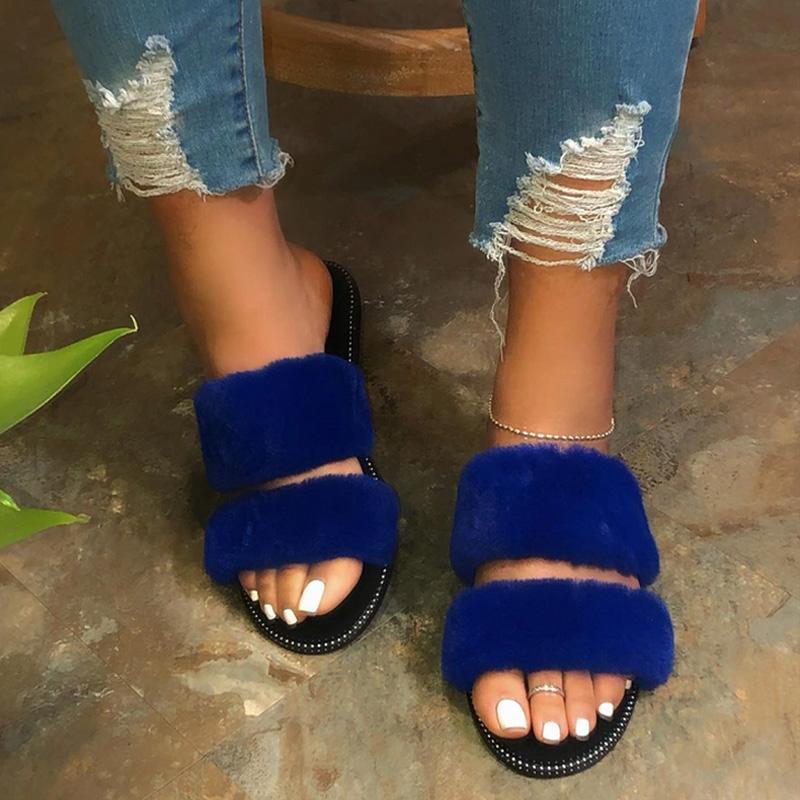 2020 Scarpe Donna Pantofole Furry pelliccia delle signore Slides casa Flip Flops Moda peluche lanuginosa Casa Femminili Indoor donna pantofole Flats