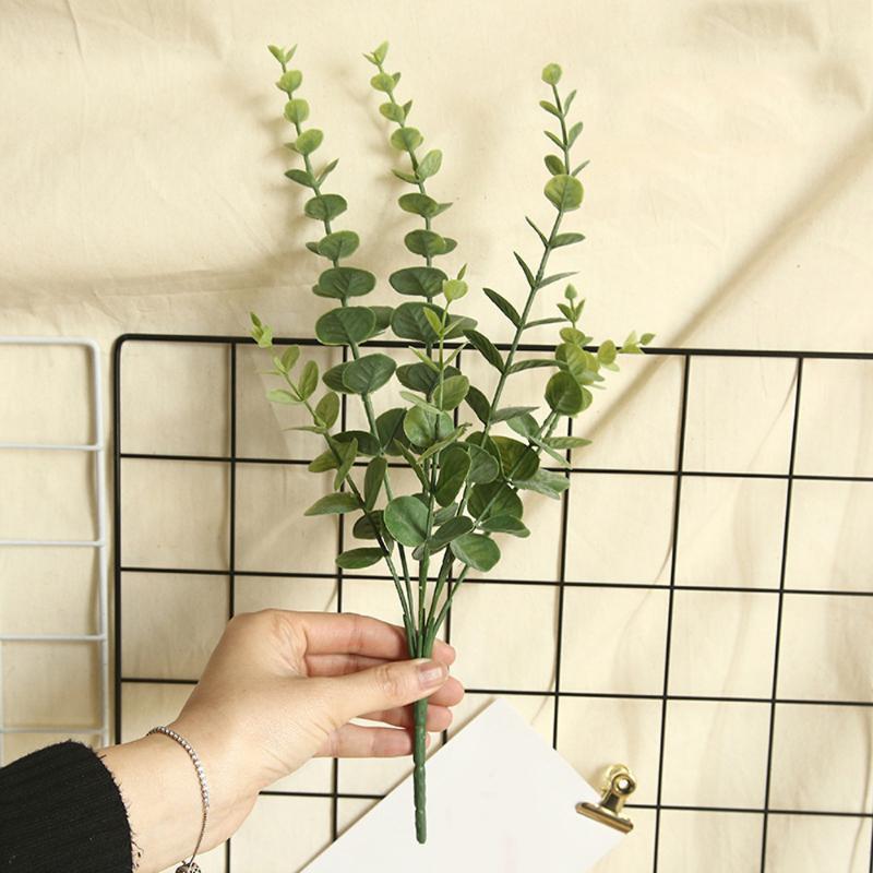 Planta Verde Falso Artificial Silk Folha de Eucalipto plástico DIY Garland Home Decor