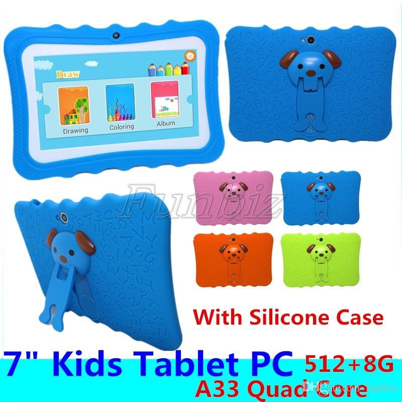 Kids Educational Tablet PC 7 Inch Screen Android 4.4 Allwinner A33 Quad Core 512MB RAM 8GB ROM Dual Camera WIFI Tablet PC