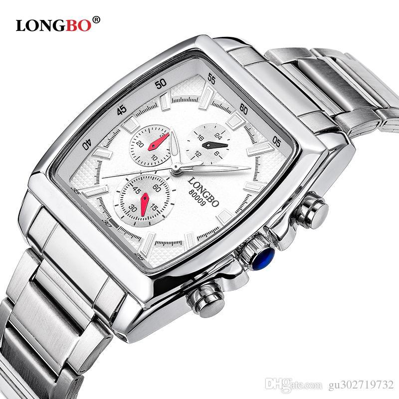 LONGBO Brand Fashion Mens Watches Top Brand Square Dial Male Sports Quartz Watch Waterproof Clock Relogio Masculino 80009