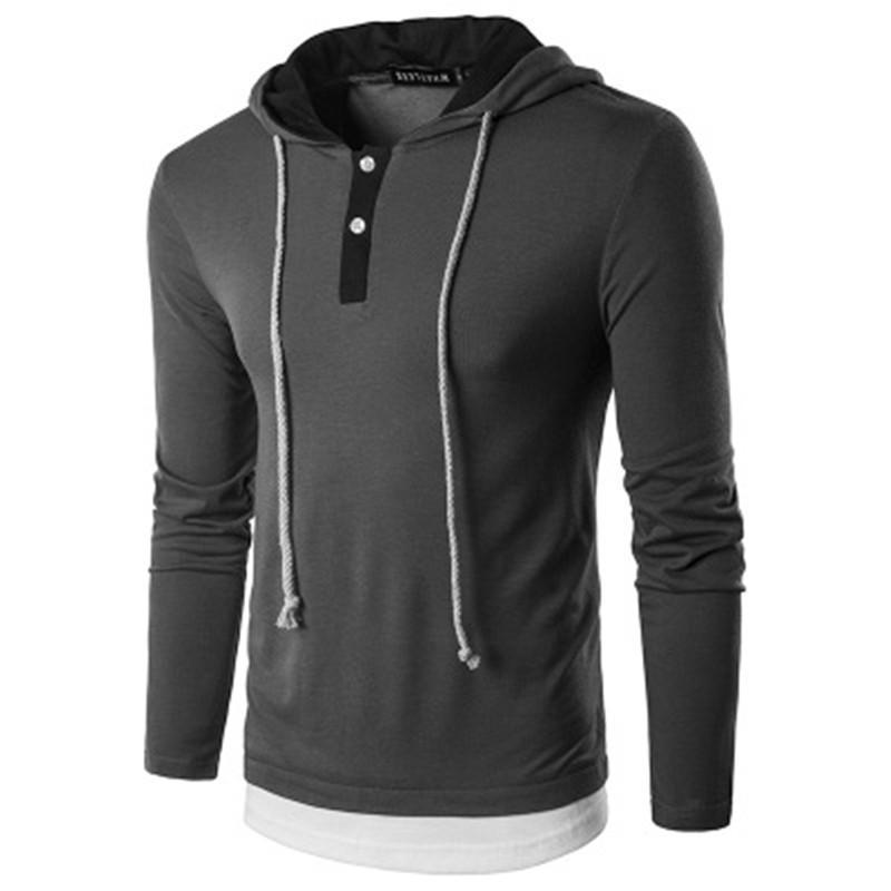 Long Sleeve Tee maschio casuale di Hip Hop con cappuccio falsificazione due pezzi di design Slim Nuovo Mens magliette Pure Color Abbigliamento Bottone