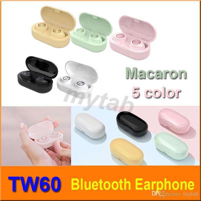 TW60 inalámbrica de Buletooth para auriculares de color 5 macarrón TWS Touch Control Bajo envolvente de alta fidelidad estéreo de auriculares Auriculares + Carga de la caja del teléfono celular