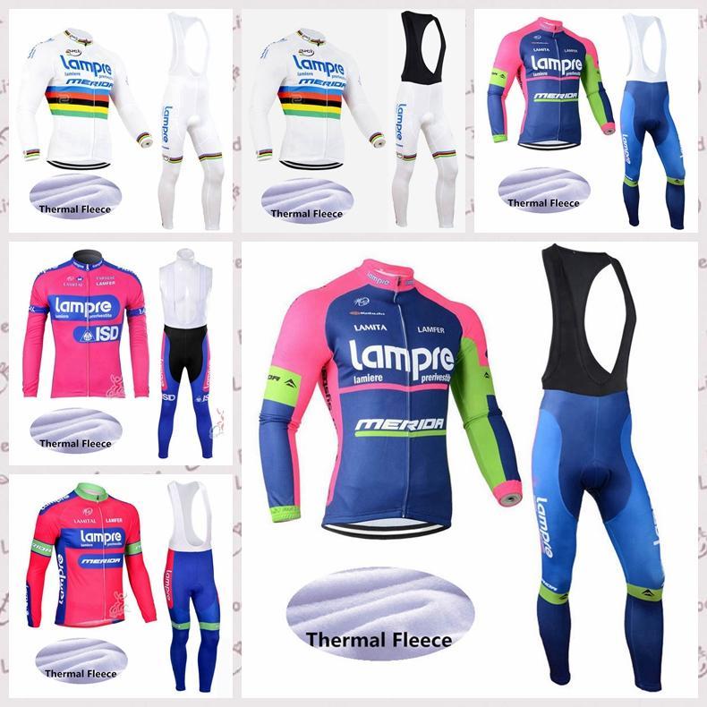 LAMPRE Team New manches longues hiver pantalons de molleton thermique cyclisme maillot de jeux VTT Ropa Ciclismo extérieur Réchauffez sport E61534