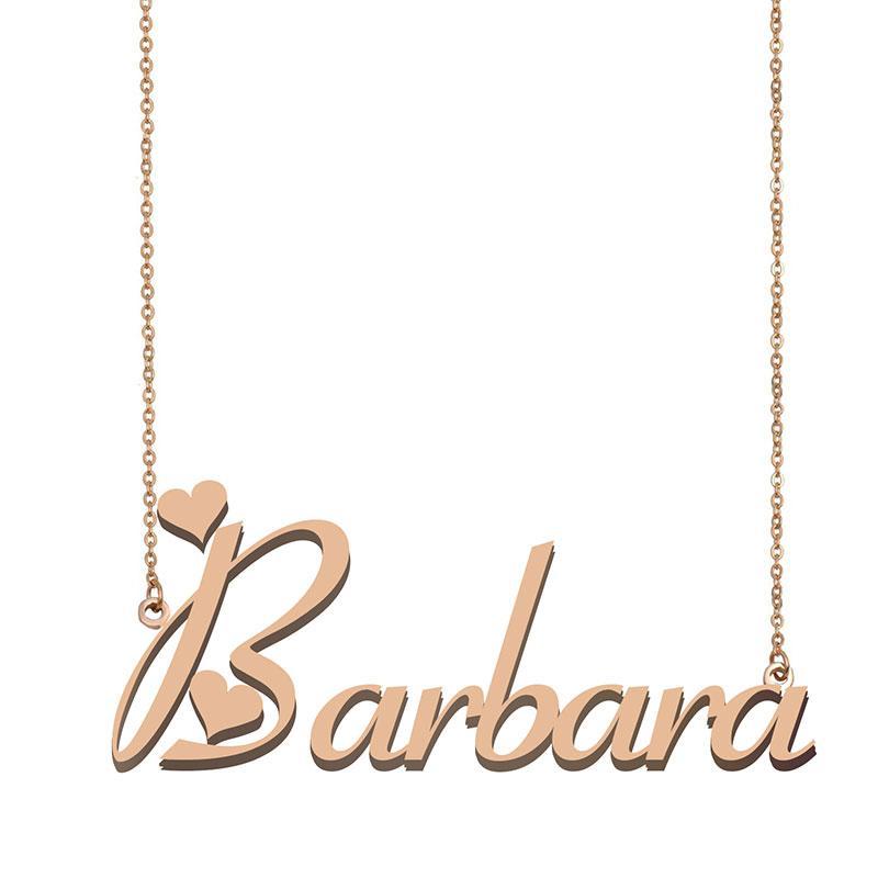 Barbara Nom Collier pendentif pour femmes filles cadeau d'anniversaire personnalisés pour enfants Best Friends Plaque d'identification Bijoux 18k Acier inoxydable plaqué or
