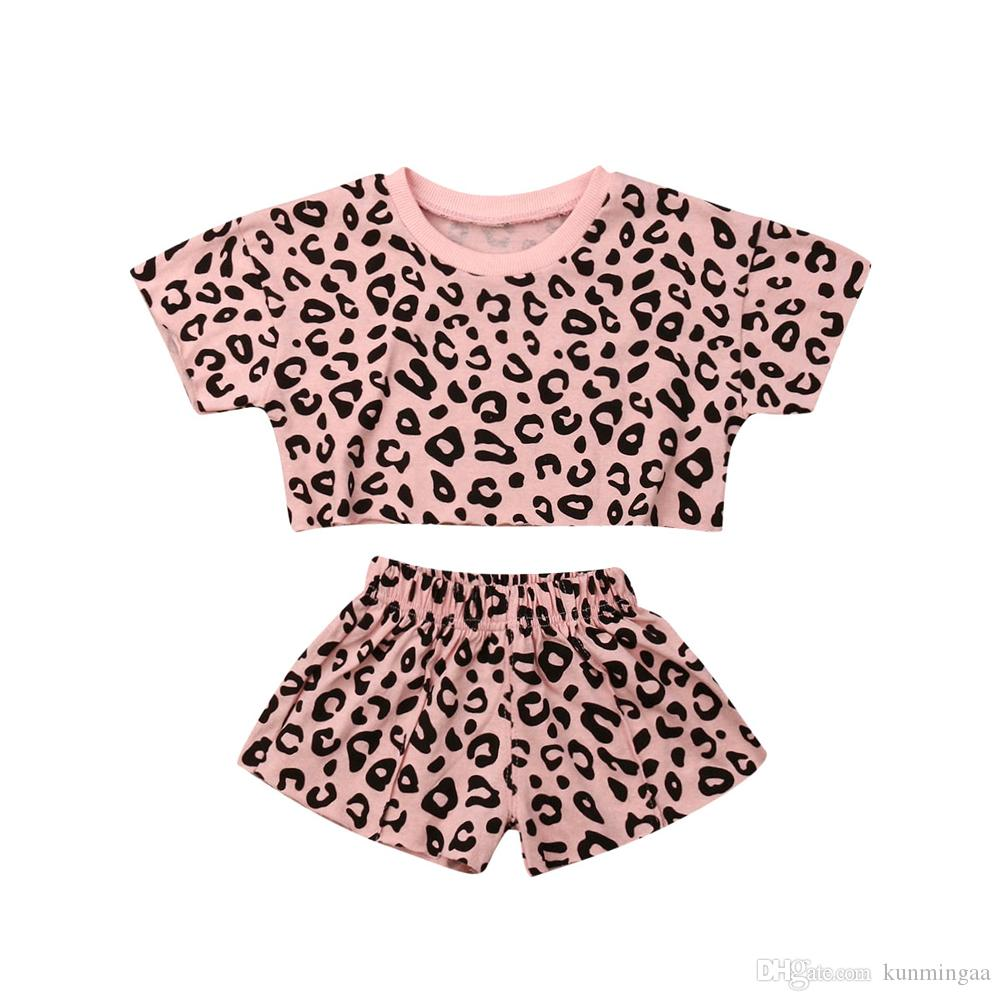 baby girls Cotton Leopard Grain Printed Short Sleeve O-Neck clothes summer Tee +short pants kids girls casual outfits