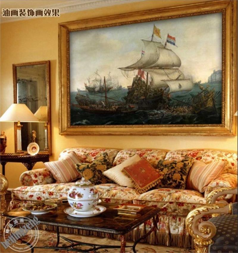 benutzerdefinierte Größe 3D-Fototapete Wohnzimmer-Bett-Zimmer im europäischen Stil Wandsegelboot retro 3D-Bild Sofa Fernsehhintergrundaufkleber Tapete Wand