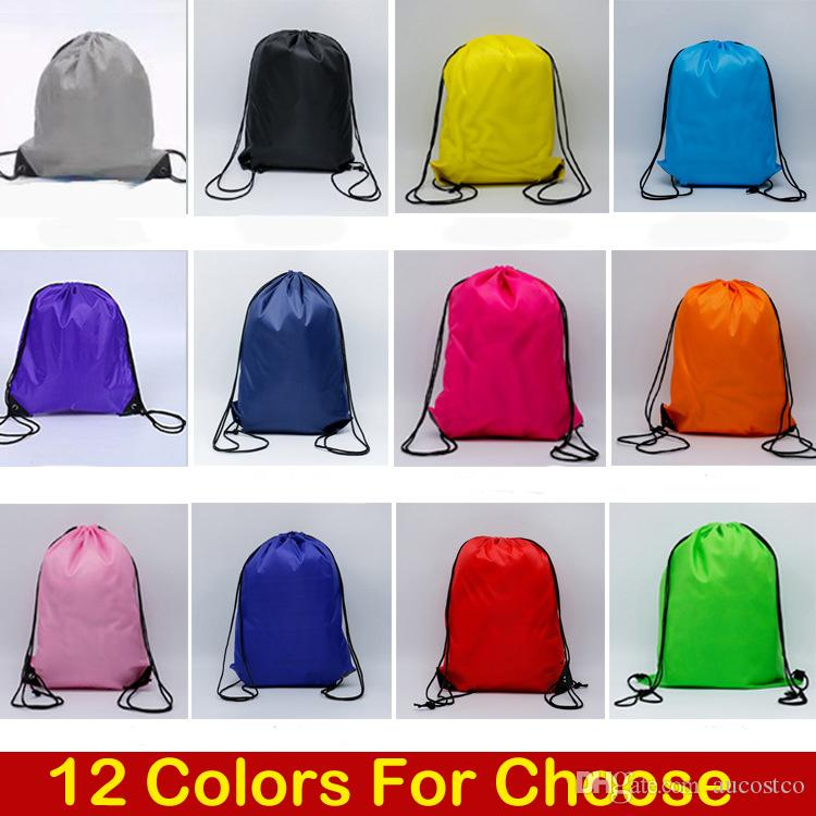 2019 12 Styles Solid Color Drawstring Bag 210D Polyester Cloth Sport Gym Dance Backpack Kids' Clothes Shoes Bags Storage Folding Bag M34F