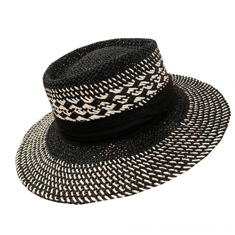 palha três vezes palha topo plano francês estilo contraste sol chapéu de sol chapéu de viagem