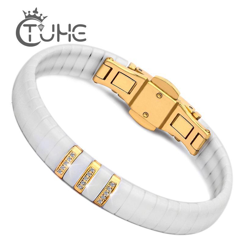 Heiße schwarze weiße Keramik-Armband-Mann-Frauen 316L Edelstahl Kristallrhinestone-Goldarmband-Handkette Schmucksache-Uhr-Haken V191212