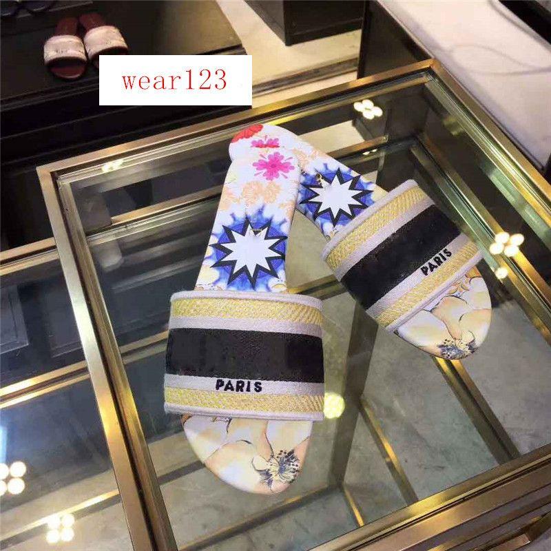 Moda Dazzle Flores diseñador de las mujeres Zapatillas parte inferior plana del bordado de la sandalia del deslizador de brocado floral