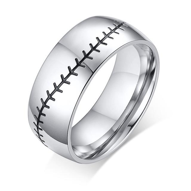 Alianzas de boda de 8 mm de acero inoxidable de los hombres punkyes de béisbol de la puntada de metal con tapa de plata de compromiso regalos de la joyería anillo de deportes masculino