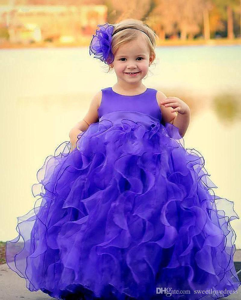 Ctue фиолетовый бальное платье девушки театрализованное платье органзы рябить длина пола пачка девочек день рождения носит для малыша